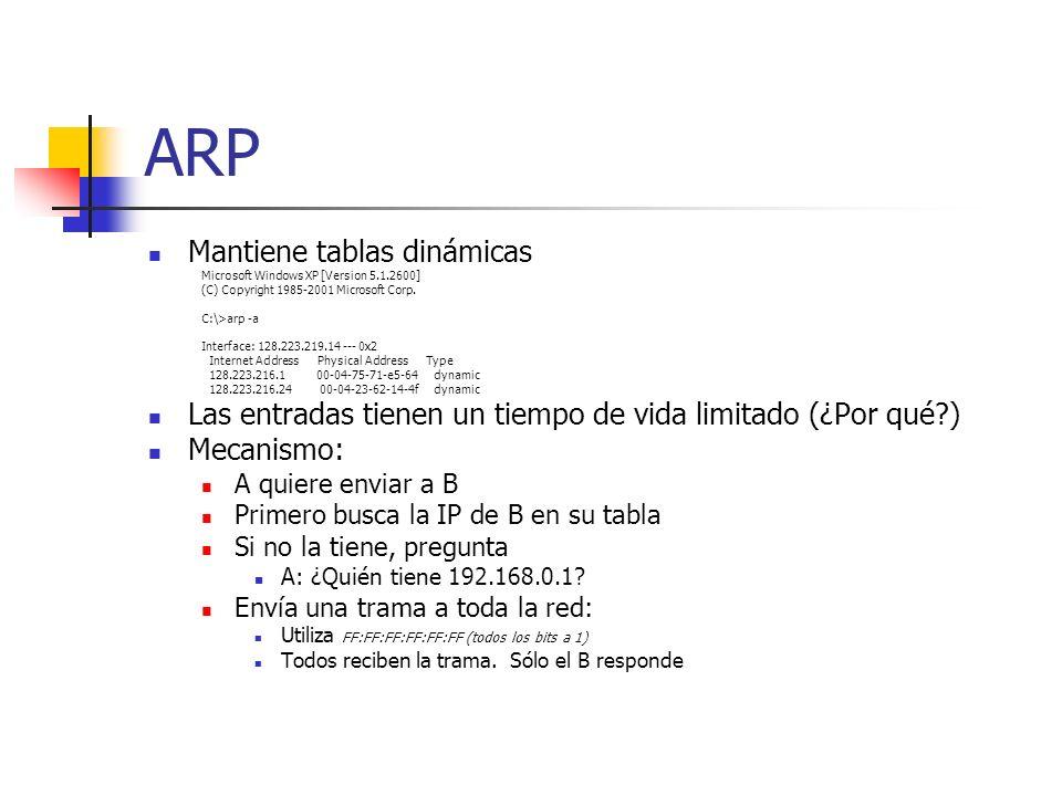 ARP Mantiene tablas dinámicas Microsoft Windows XP [Version 5.1.2600] (C) Copyright 1985-2001 Microsoft Corp. C:\>arp -a Interface: 128.223.219.14 ---