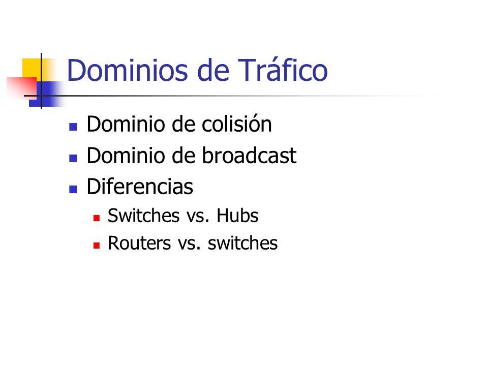 Dominios de Tráfico Dominio de colisión Dominio de broadcast Diferencias Switches vs. Hubs Routers vs. switches