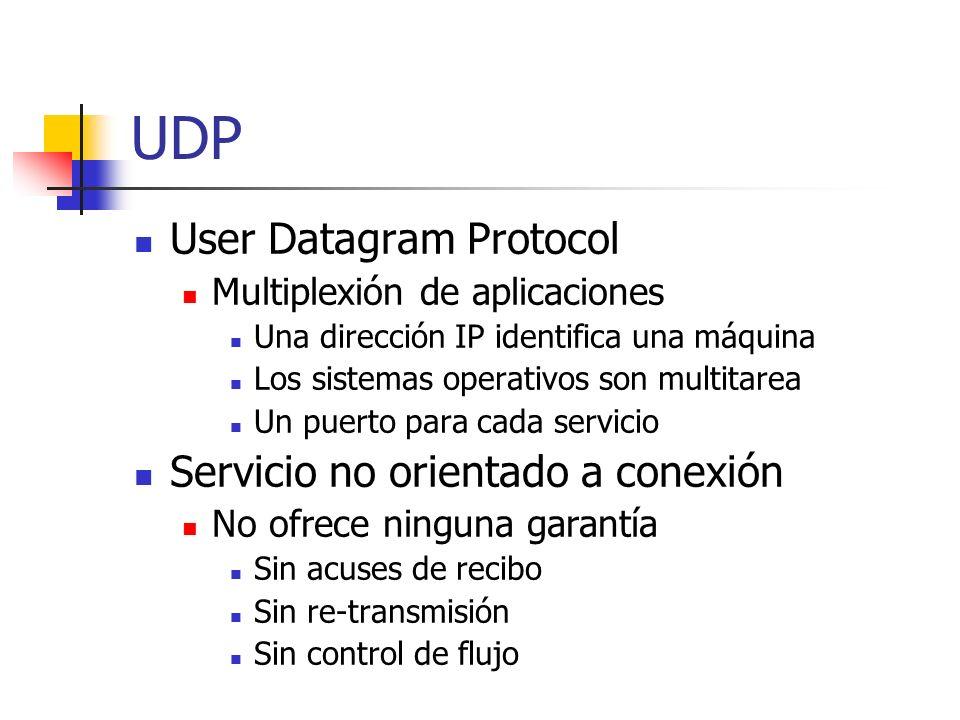UDP User Datagram Protocol Multiplexión de aplicaciones Una dirección IP identifica una máquina Los sistemas operativos son multitarea Un puerto para