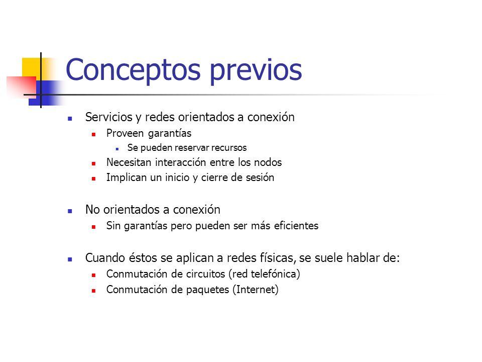 Conceptos previos Servicios y redes orientados a conexión Proveen garantías Se pueden reservar recursos Necesitan interacción entre los nodos Implican
