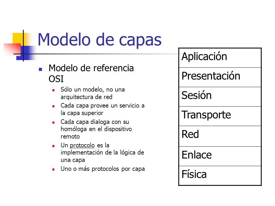 Modelo de capas Modelo de referencia OSI Sólo un modelo, no una arquitectura de red Cada capa provee un servicio a la capa superior Cada capa dialoga