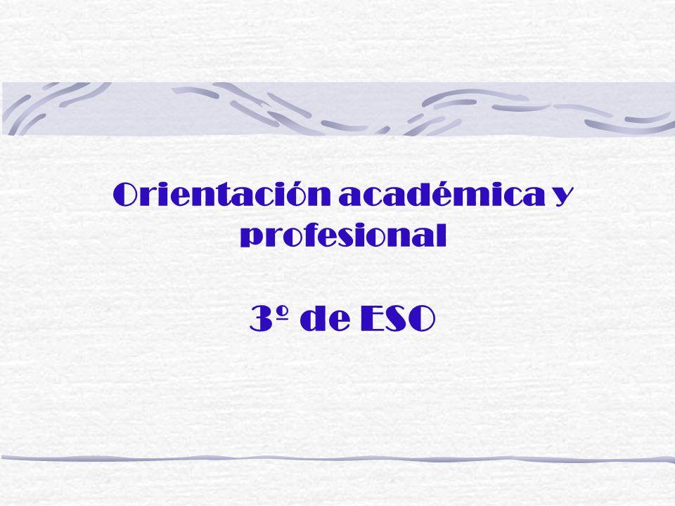 - Salidas académicas y profesionales tras la ESO - Áreas comunes y optativas de 4º de ESO - Itinerarios de 4º de ESO - Bachillerato - Ciclos formativos de grado medio - Programas de Iniciación Profesional (sin título)