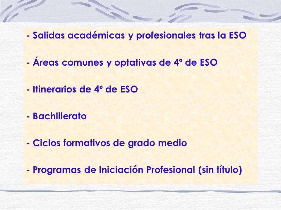 - Salidas académicas y profesionales tras la ESO - Áreas comunes y optativas de 4º de ESO - Itinerarios de 4º de ESO - Bachillerato - Ciclos formativo