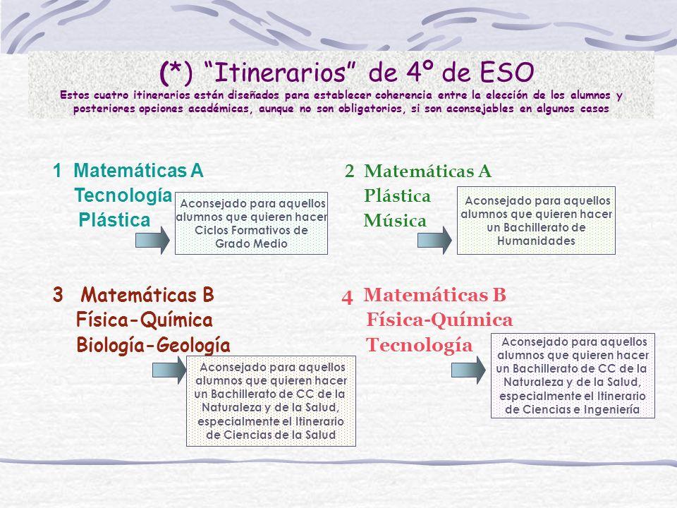 (*) Itinerarios de 4º de ESO Estos cuatro itinerarios están diseñados para establecer coherencia entre la elección de los alumnos y posteriores opcion