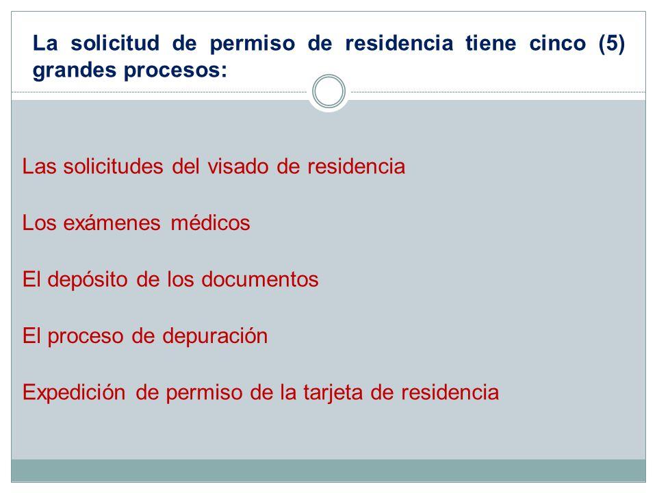 La solicitud de permiso de residencia tiene cinco (5) grandes procesos: Las solicitudes del visado de residencia Los exámenes médicos El depósito de l