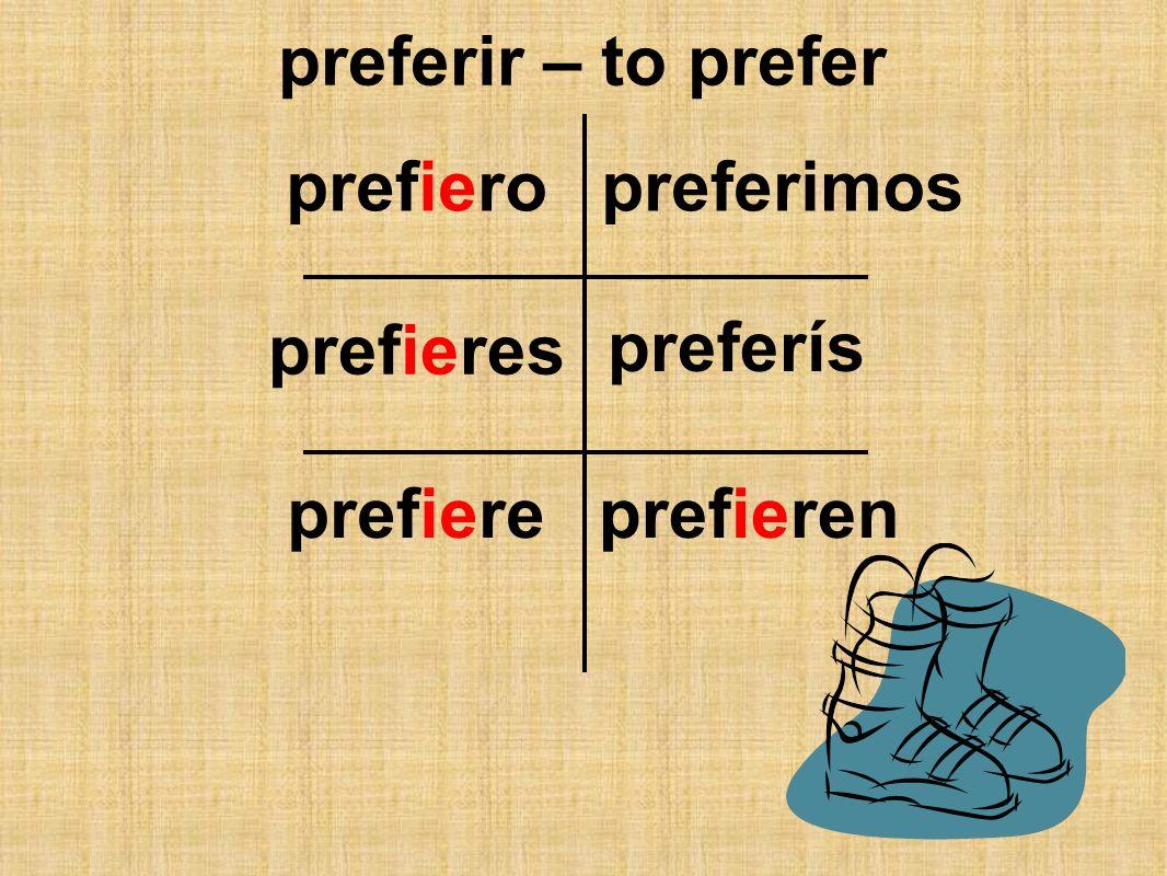 preferir – to prefer prefiero prefieres prefiereprefieren preferimos preferís