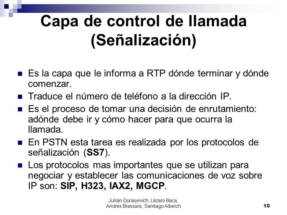 Julián Dunayevich, Lázaro Baca, Andrés Brassara, Santiago Alberch10 Capa de control de llamada (Señalización) Es la capa que le informa a RTP dónde te