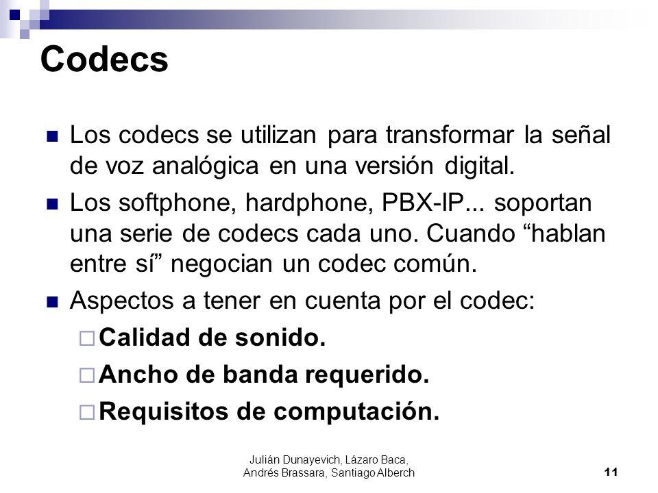 Julián Dunayevich, Lázaro Baca, Andrés Brassara, Santiago Alberch11 Los codecs se utilizan para transformar la señal de voz analógica en una versión d