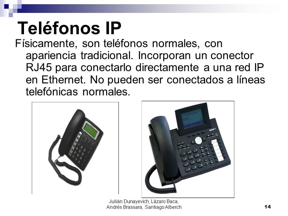 Julián Dunayevich, Lázaro Baca, Andrés Brassara, Santiago Alberch14 Teléfonos IP Físicamente, son teléfonos normales, con apariencia tradicional. Inco