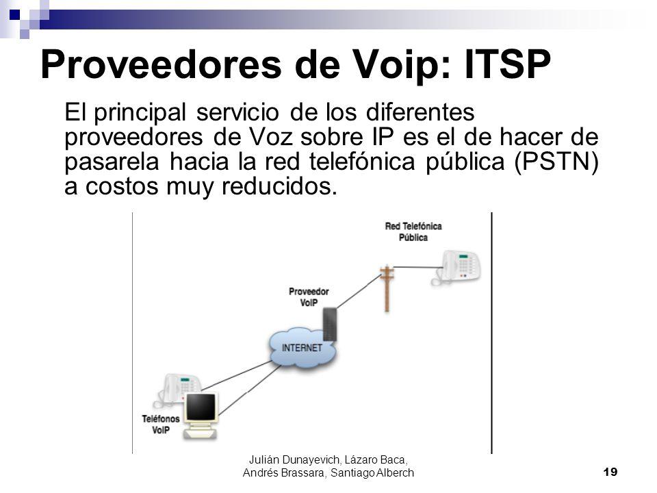 Julián Dunayevich, Lázaro Baca, Andrés Brassara, Santiago Alberch19 Proveedores de Voip: ITSP El principal servicio de los diferentes proveedores de V