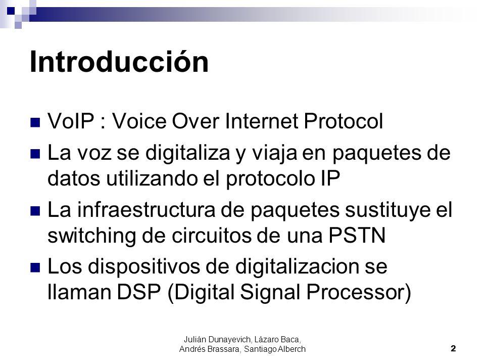 Julián Dunayevich, Lázaro Baca, Andrés Brassara, Santiago Alberch2 Introducción VoIP : Voice Over Internet Protocol La voz se digitaliza y viaja en pa