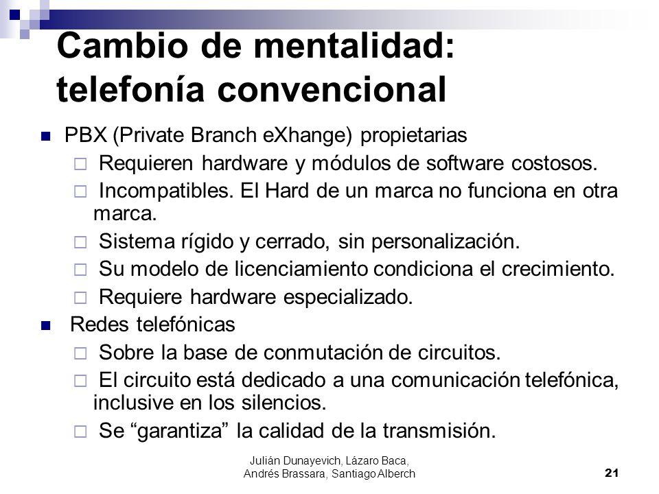 Julián Dunayevich, Lázaro Baca, Andrés Brassara, Santiago Alberch21 Cambio de mentalidad: telefonía convencional PBX (Private Branch eXhange) propieta
