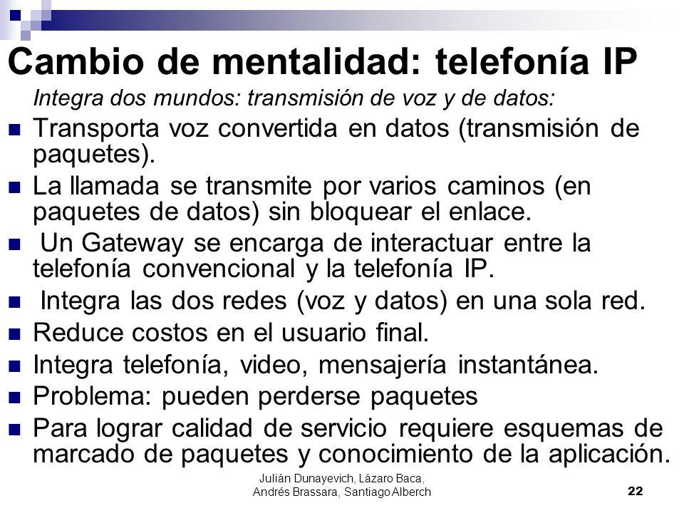 Julián Dunayevich, Lázaro Baca, Andrés Brassara, Santiago Alberch22 Cambio de mentalidad: telefonía IP Integra dos mundos: transmisión de voz y de dat