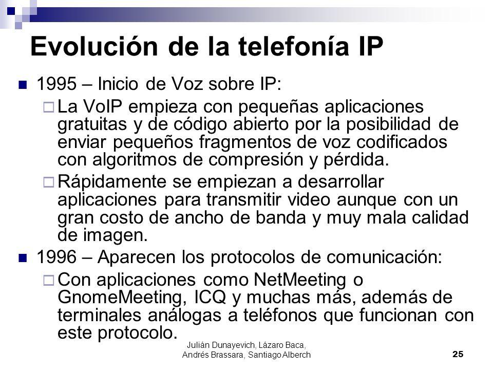 Julián Dunayevich, Lázaro Baca, Andrés Brassara, Santiago Alberch25 Evolución de la telefonía IP 1995 – Inicio de Voz sobre IP: La VoIP empieza con pe