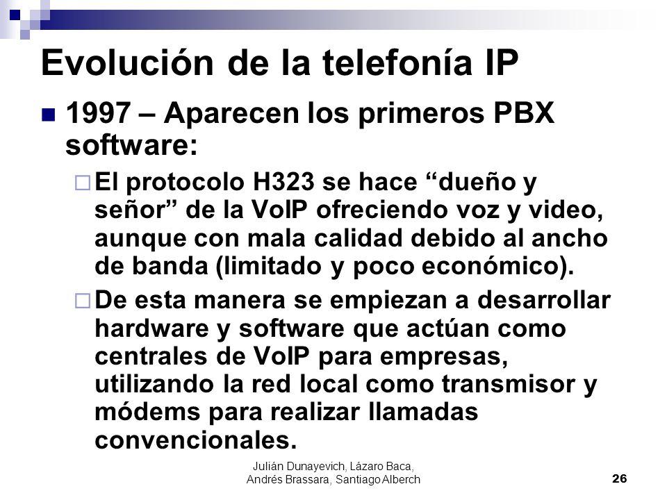 Julián Dunayevich, Lázaro Baca, Andrés Brassara, Santiago Alberch26 Evolución de la telefonía IP 1997 – Aparecen los primeros PBX software: El protoco