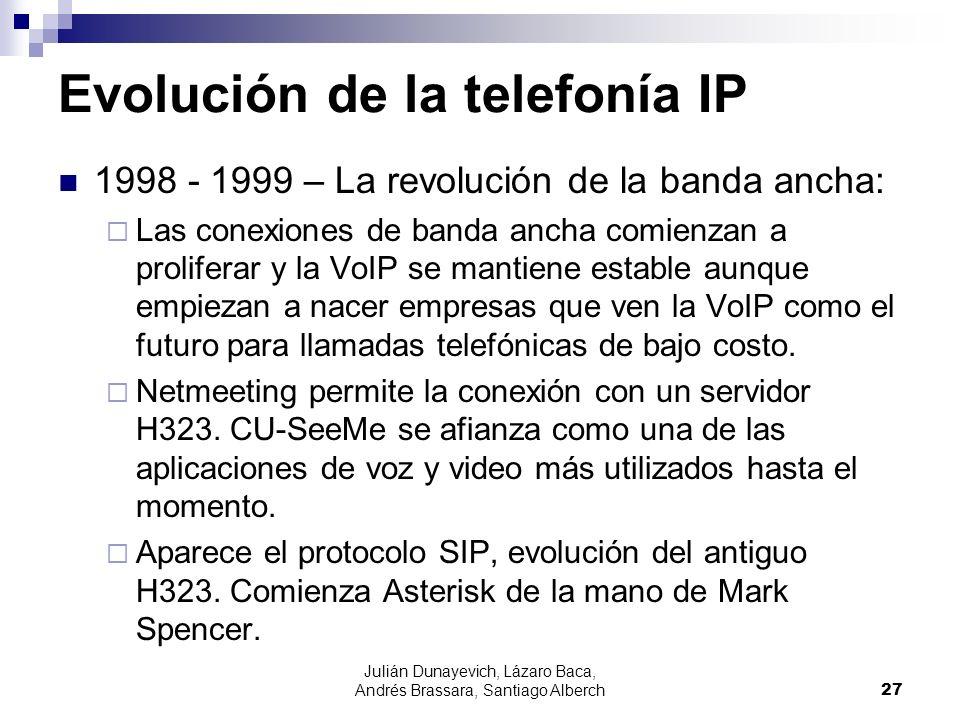 Julián Dunayevich, Lázaro Baca, Andrés Brassara, Santiago Alberch27 Evolución de la telefonía IP 1998 - 1999 – La revolución de la banda ancha: Las co
