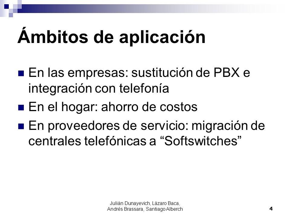 Julián Dunayevich, Lázaro Baca, Andrés Brassara, Santiago Alberch4 Ámbitos de aplicación En las empresas: sustitución de PBX e integración con telefon
