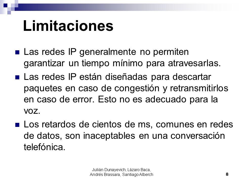 Julián Dunayevich, Lázaro Baca, Andrés Brassara, Santiago Alberch8 Limitaciones Las redes IP generalmente no permiten garantizar un tiempo mínimo para