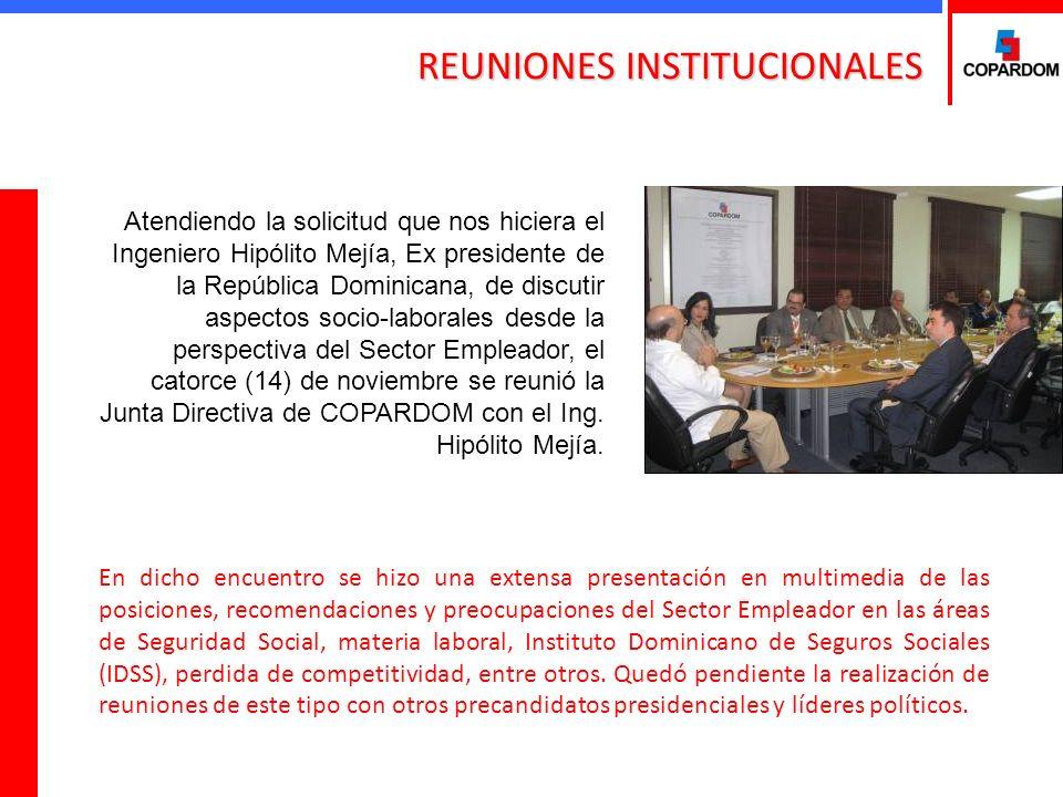 En dicho encuentro se hizo una extensa presentación en multimedia de las posiciones, recomendaciones y preocupaciones del Sector Empleador en las áreas de Seguridad Social, materia laboral, Instituto Dominicano de Seguros Sociales (IDSS), perdida de competitividad, entre otros.