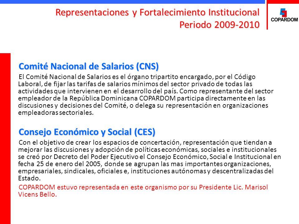 Representaciones y Fortalecimiento Institucional Periodo 2009-2010 Consejo Nacional de la Seguridad Social (CNSS) La representación de COPARDOM en el Consejo Nacional de la Seguridad Social (CNSS), está integrada por los señores: María Teresa Fernández y Paulo Herrera Maluf.