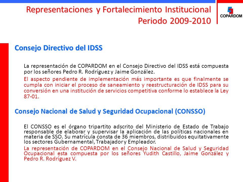 Consejo Directivo del IDSS La representación de COPARDOM en el Consejo Directivo del IDSS está compuesta por los señores Pedro R. Rodríguez y Jaime Go
