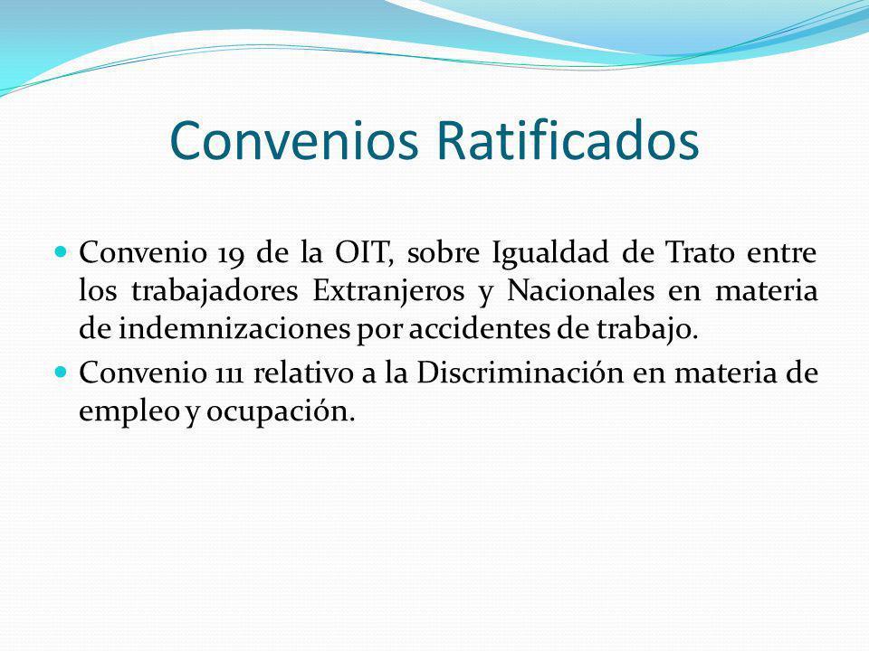 Convenios Ratificados Convenio 19 de la OIT, sobre Igualdad de Trato entre los trabajadores Extranjeros y Nacionales en materia de indemnizaciones por