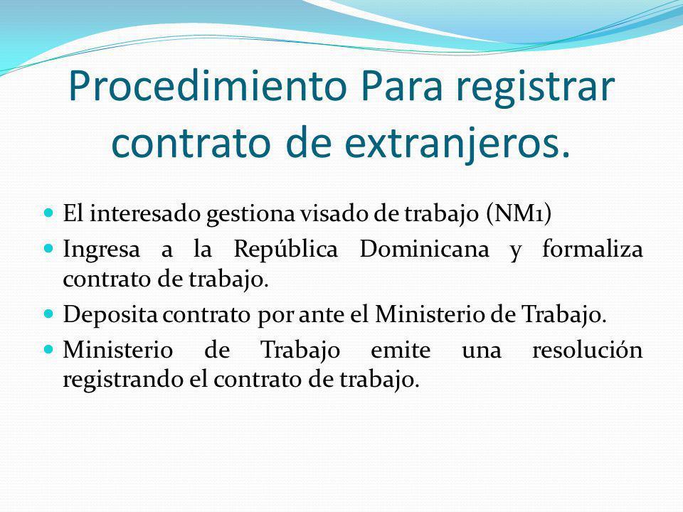 Procedimiento Para registrar contrato de extranjeros. El interesado gestiona visado de trabajo (NM1) Ingresa a la República Dominicana y formaliza con