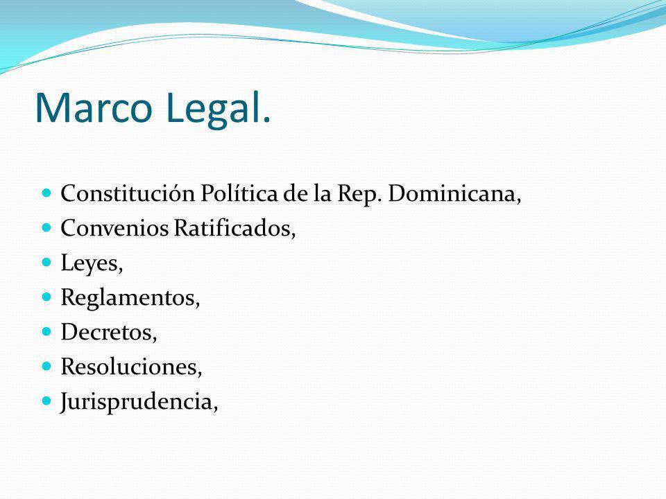 Marco Legal. Constitución Política de la Rep. Dominicana, Convenios Ratificados, Leyes, Reglamentos, Decretos, Resoluciones, Jurisprudencia,
