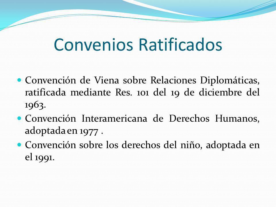 Convenios Ratificados Convención de Viena sobre Relaciones Diplomáticas, ratificada mediante Res. 101 del 19 de diciembre del 1963. Convención Interam