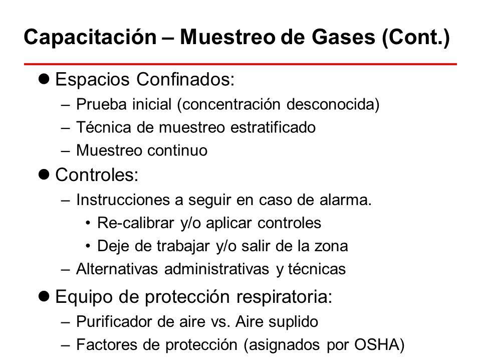 Capacitación – Muestreo de Gases (Cont.) Equipo de protección respiratoria: –Purificador de aire vs. Aire suplido –Factores de protección (asignados p