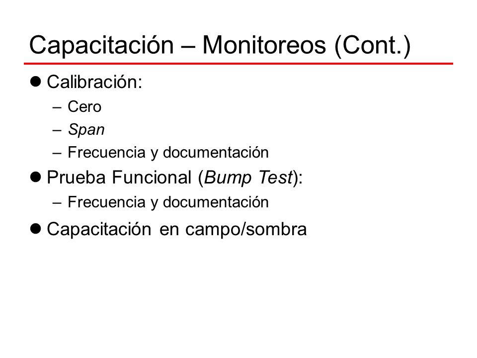 Capacitación – Monitoreos (Cont.) Calibración: –Cero –Span –Frecuencia y documentación Prueba Funcional (Bump Test): –Frecuencia y documentación Capac