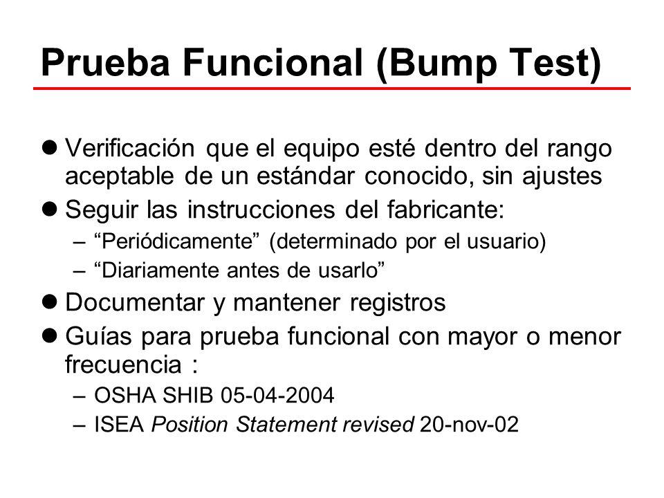Prueba Funcional (Bump Test) Verificación que el equipo esté dentro del rango aceptable de un estándar conocido, sin ajustes Seguir las instrucciones