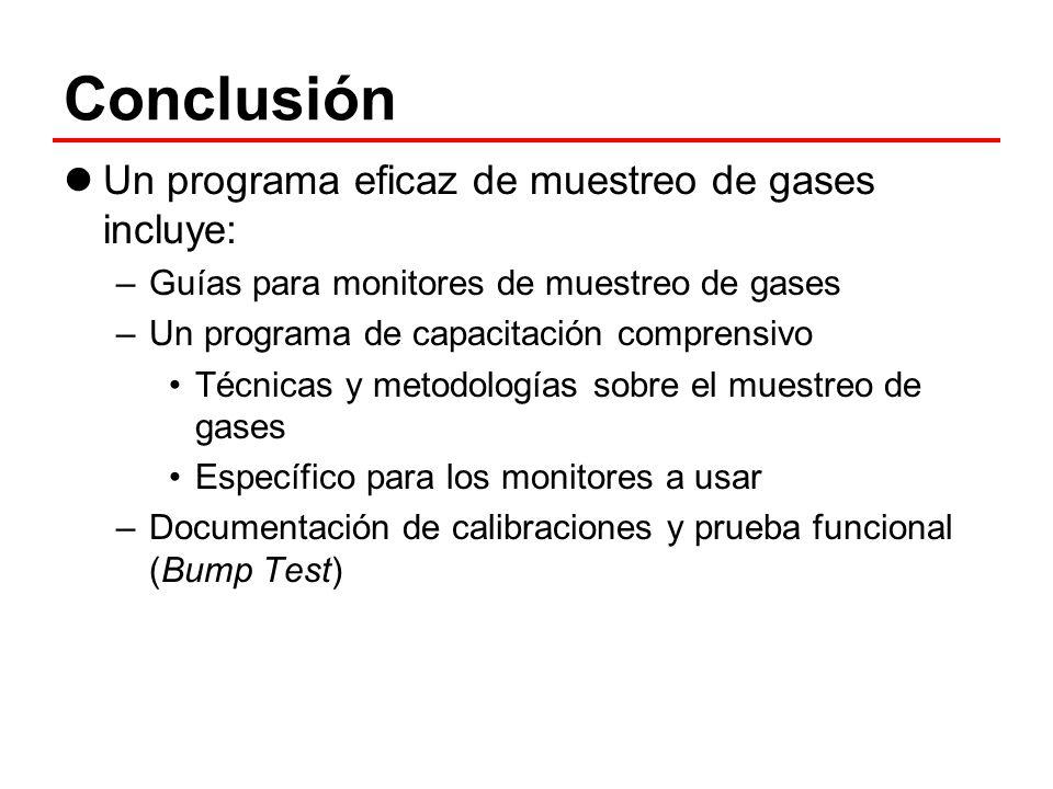 Conclusión Un programa eficaz de muestreo de gases incluye: –Guías para monitores de muestreo de gases –Un programa de capacitación comprensivo Técnic
