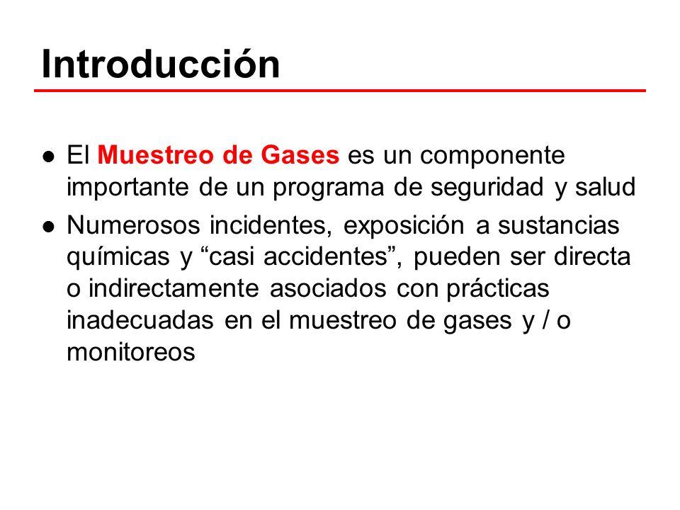 Introducción El Muestreo de Gases es un componente importante de un programa de seguridad y salud Numerosos incidentes, exposición a sustancias químic