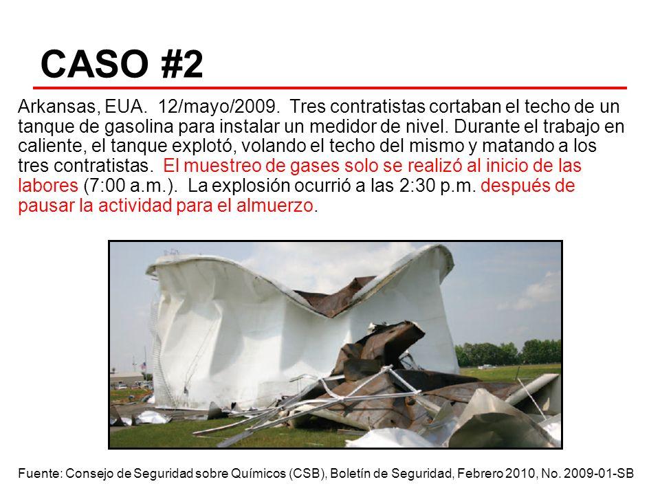 CASO #2 Arkansas, EUA. 12/mayo/2009. Tres contratistas cortaban el techo de un tanque de gasolina para instalar un medidor de nivel. Durante el trabaj
