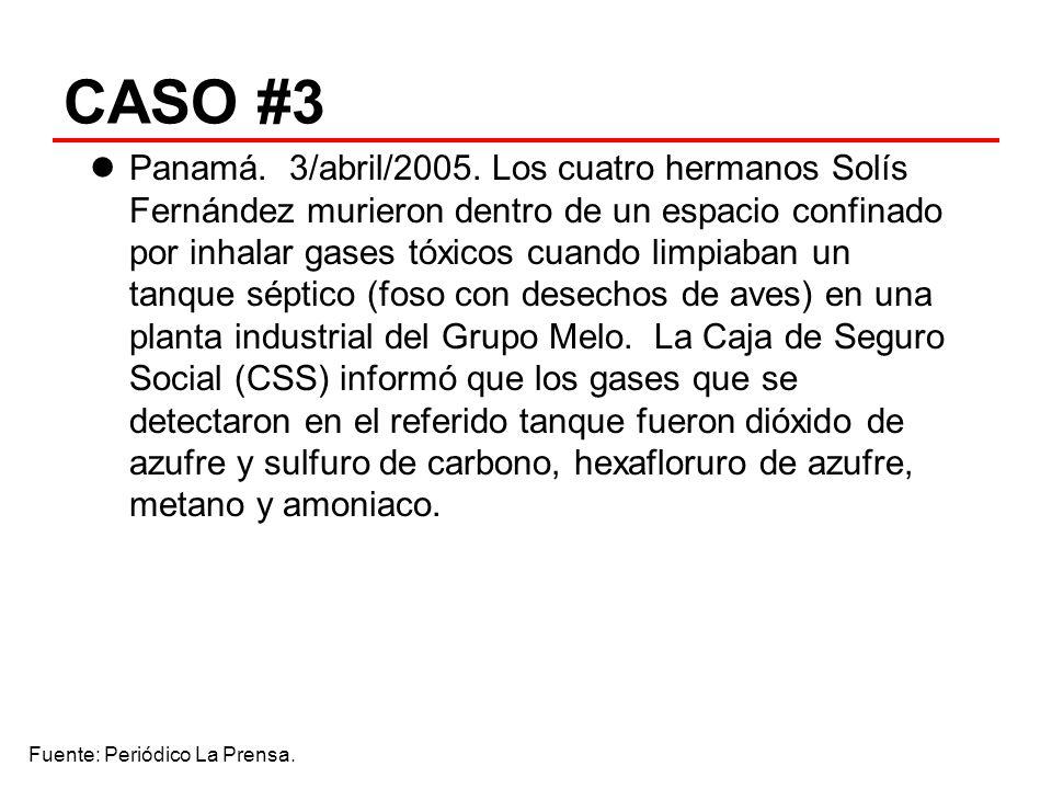 CASO #3 Panamá. 3/abril/2005. Los cuatro hermanos Solís Fernández murieron dentro de un espacio confinado por inhalar gases tóxicos cuando limpiaban u