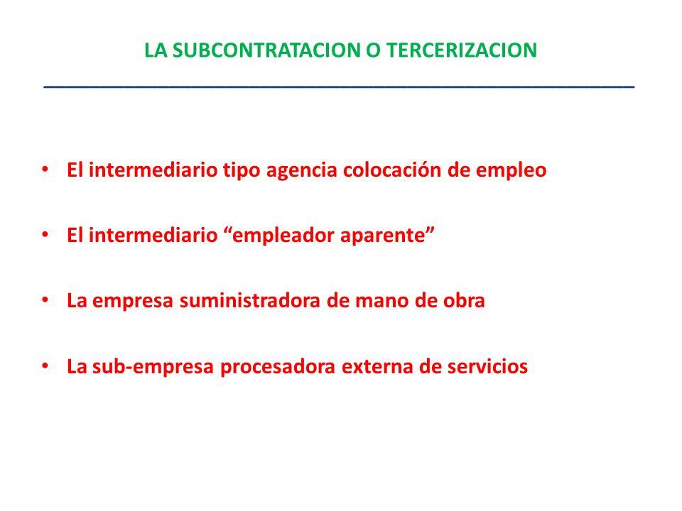 LA SUBCONTRATACION O TERCERIZACION ____________________________________________________ El intermediario tipo agencia colocación de empleo El intermed