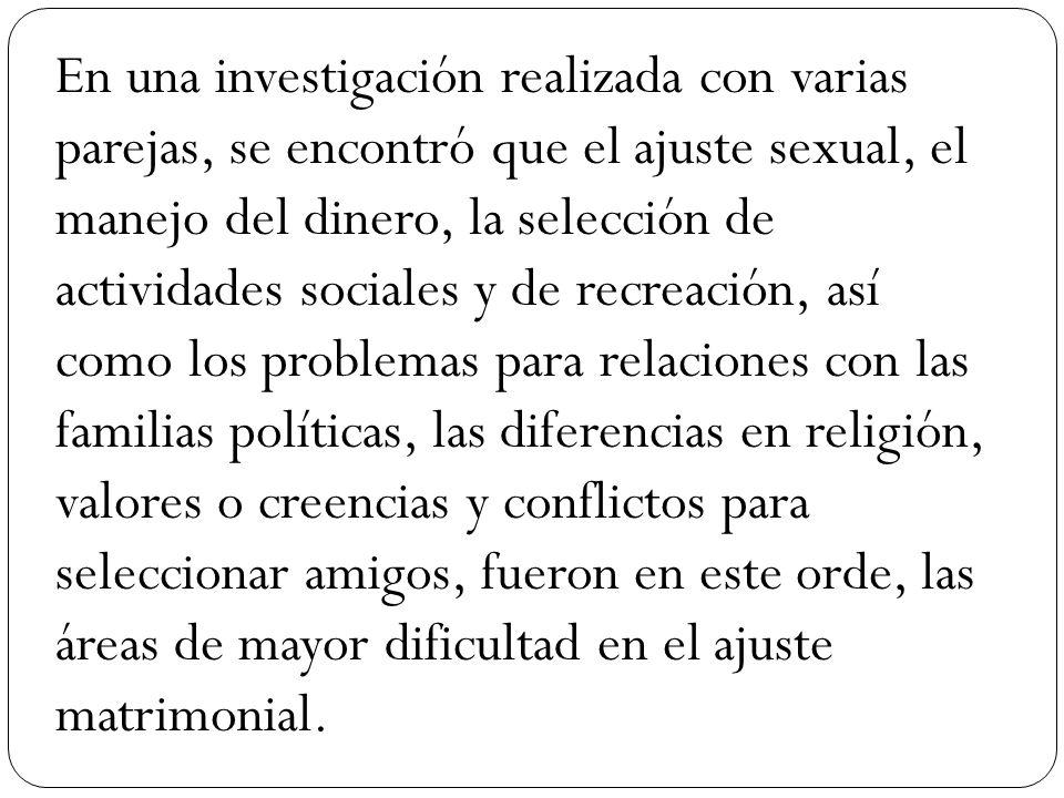En una investigación realizada con varias parejas, se encontró que el ajuste sexual, el manejo del dinero, la selección de actividades sociales y de r