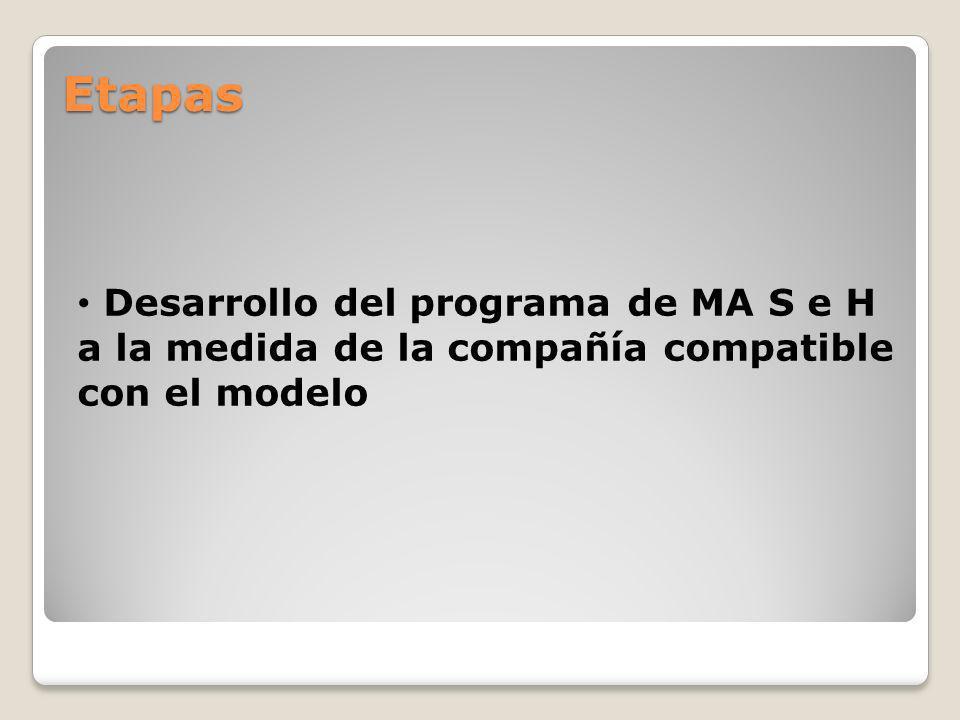 Etapas Desarrollo del programa de MA S e H a la medida de la compañía compatible con el modelo