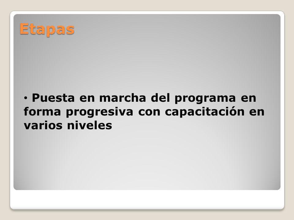 Etapas Puesta en marcha del programa en forma progresiva con capacitación en varios niveles