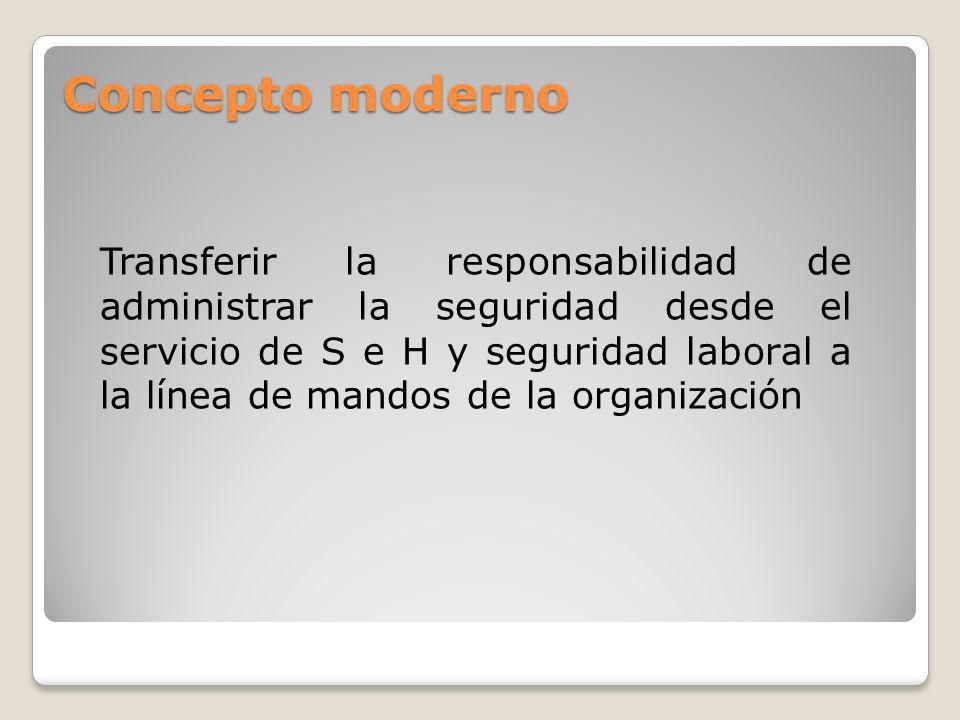 Concepto moderno Transferir la responsabilidad de administrar la seguridad desde el servicio de S e H y seguridad laboral a la línea de mandos de la organización