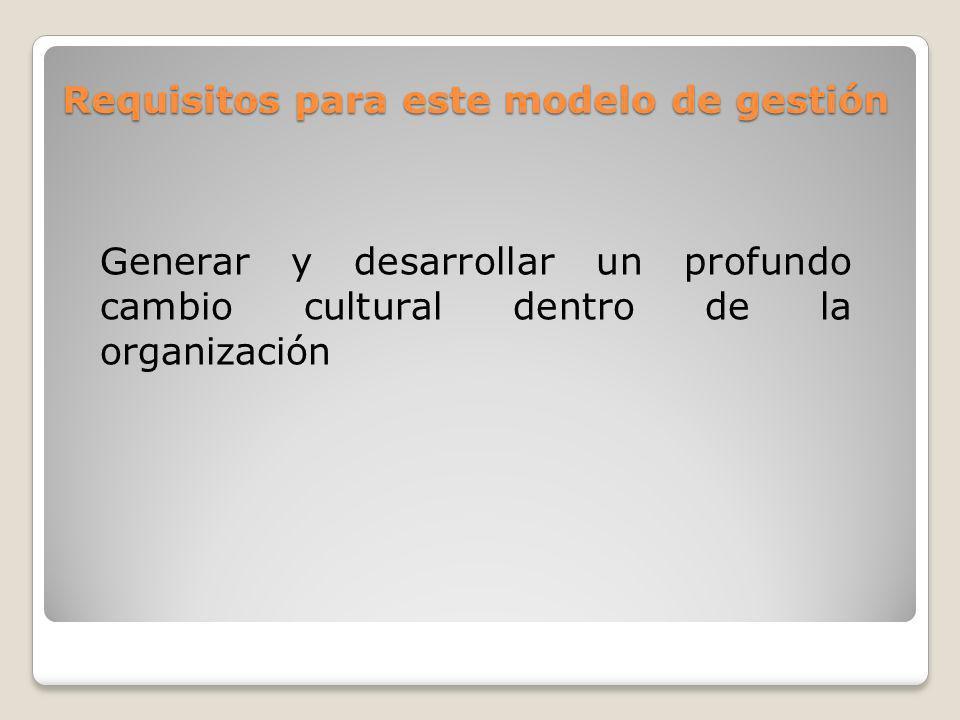 Requisitos para este modelo de gestión Generar y desarrollar un profundo cambio cultural dentro de la organización