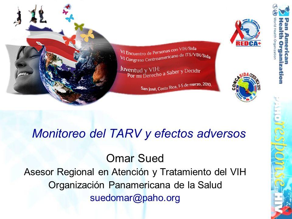Monitoreo del TARV y efectos adversos Omar Sued Asesor Regional en Atención y Tratamiento del VIH Organización Panamericana de la Salud suedomar@paho.