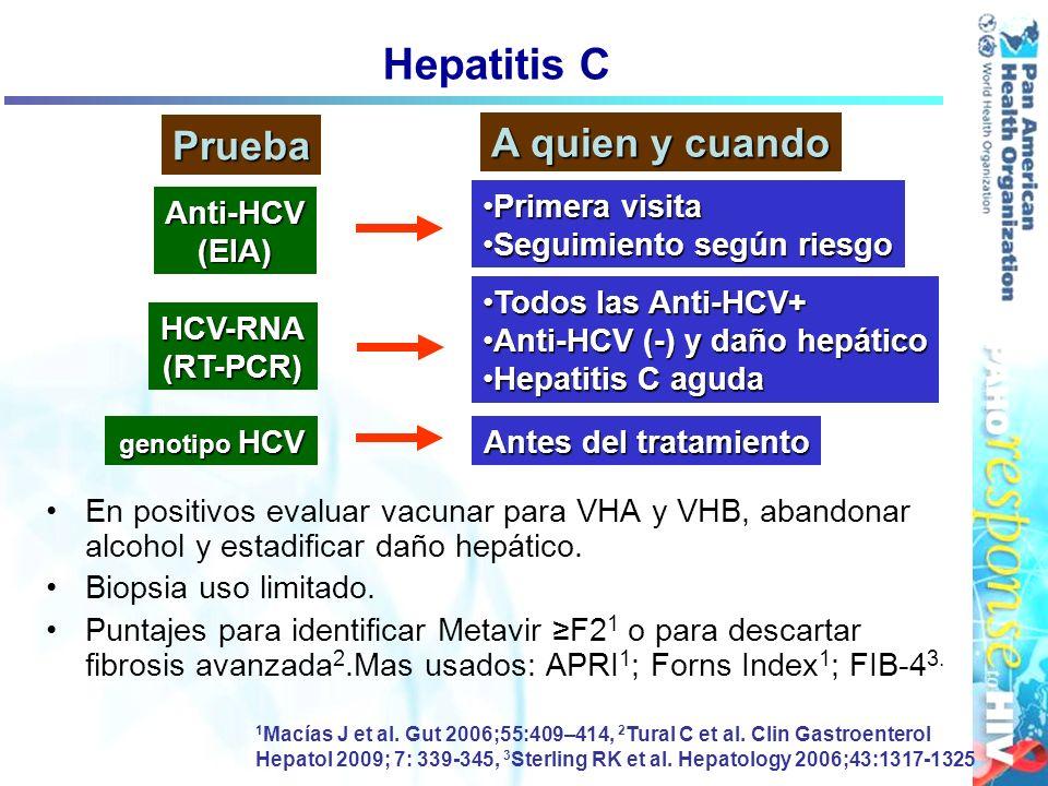 Hepatitis C En positivos evaluar vacunar para VHA y VHB, abandonar alcohol y estadificar daño hepático. Biopsia uso limitado. Puntajes para identifica