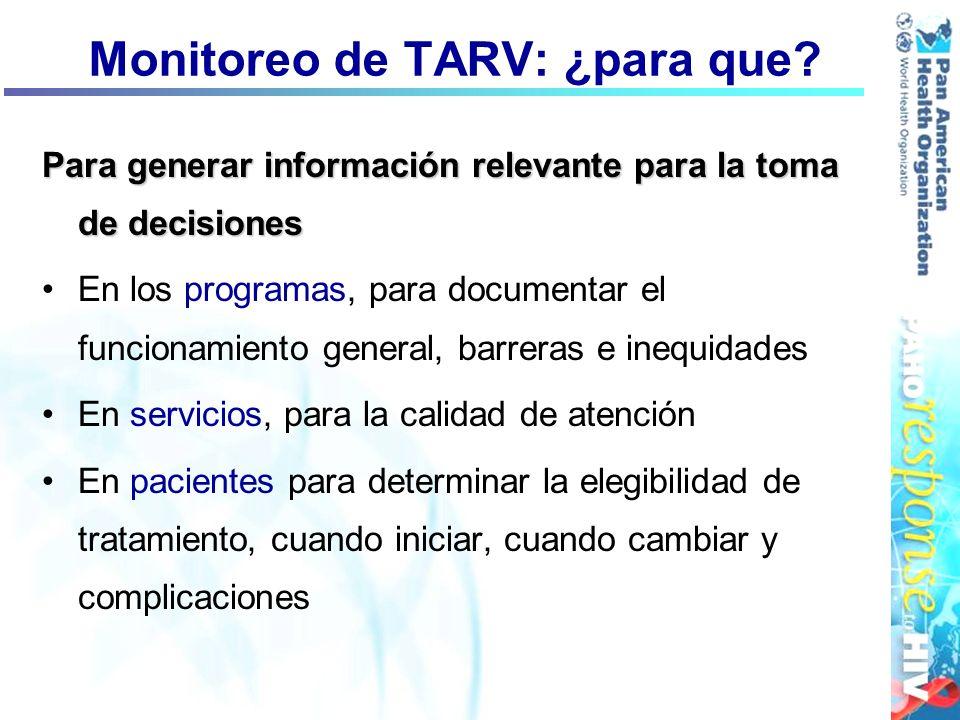 Monitoreo de TARV: ¿para que? Para generar información relevante para la toma de decisiones En los programas, para documentar el funcionamiento genera