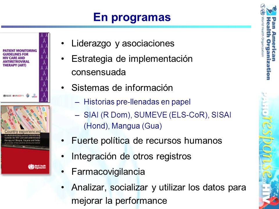 En programas Liderazgo y asociaciones Estrategia de implementación consensuada Sistemas de información –Historias pre-llenadas en papel –SIAI (R Dom),