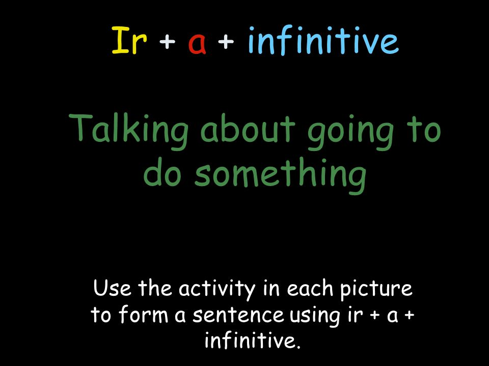 Ir + a + infinitive Talking about going to do something Use the activity in each picture to form a sentence using ir + a + infinitive.