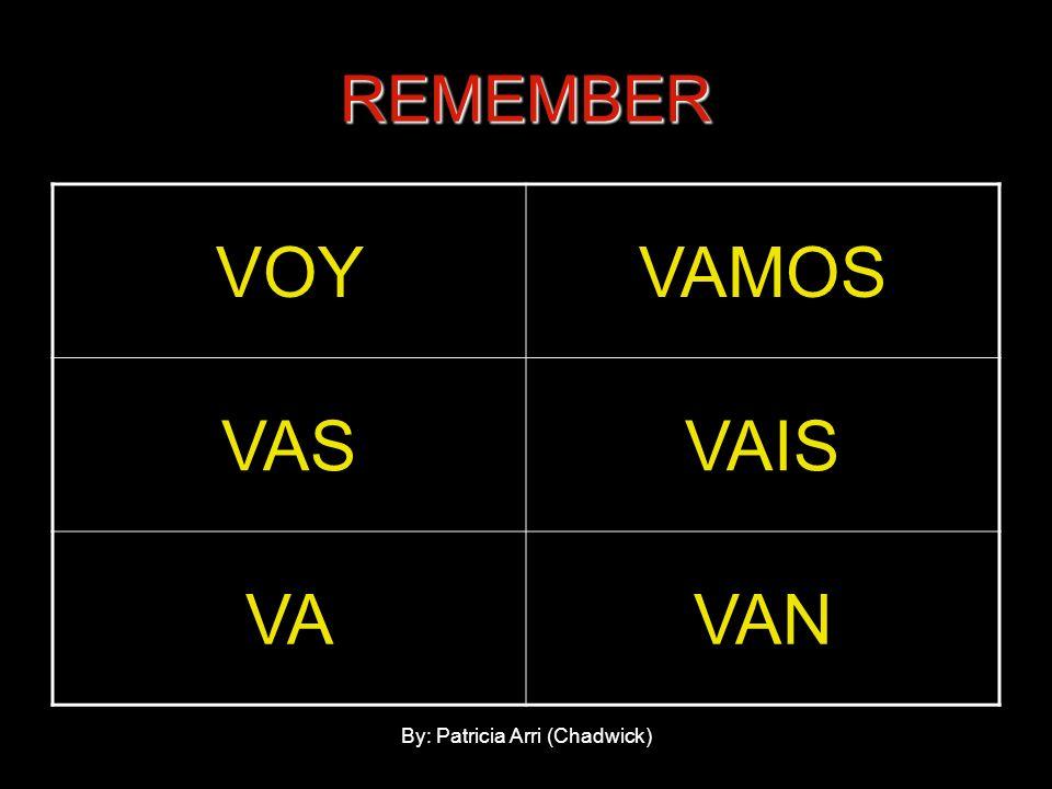 REMEMBER VOYVAMOS VASVAIS VAVAN By: Patricia Arri (Chadwick)
