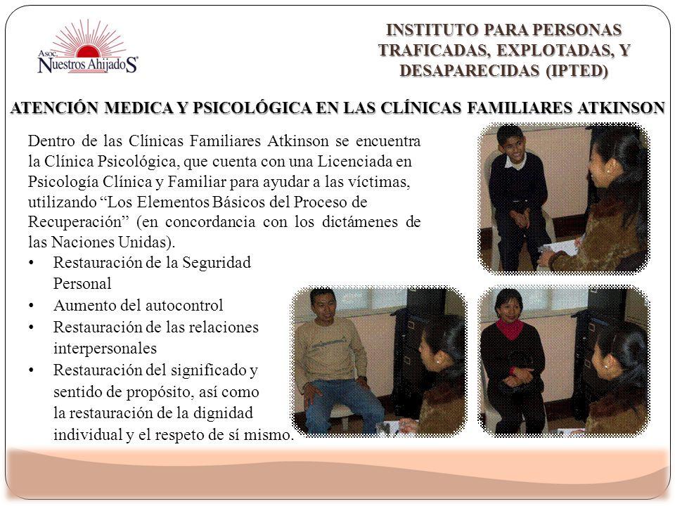 Dentro de las Clínicas Familiares Atkinson se encuentra la Clínica Psicológica, que cuenta con una Licenciada en Psicología Clínica y Familiar para ay