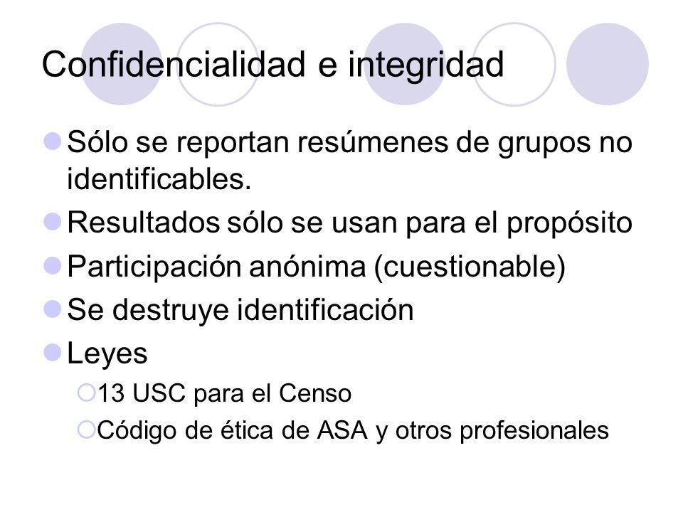 Confidencialidad e integridad Sólo se reportan resúmenes de grupos no identificables. Resultados sólo se usan para el propósito Participación anónima